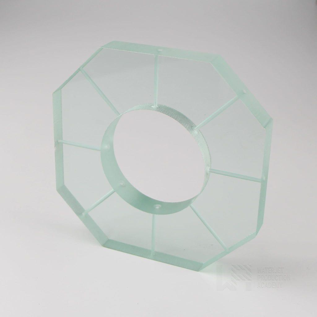 Water jet cutting glass